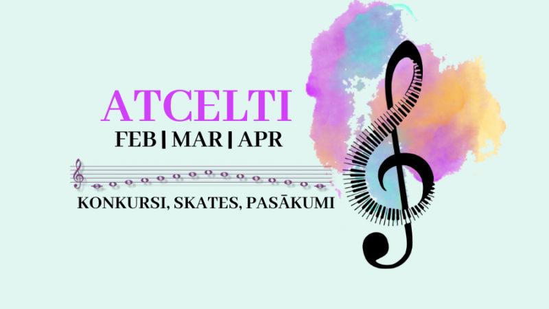 ATCELTI 2021.gada februārī, martā, aprīlī klātienē plānotie konkursi, skates, pasākumi interešu izglītībā